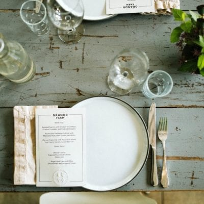 A rustic place setting at Granor Farm Dinners in Three Oaks, Michigan.
