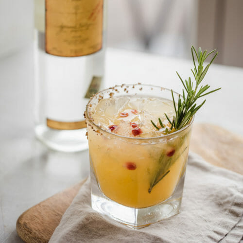 A mezcal cocktail with fresh rosemary and pomegranate at Bentwood Tavern in New Buffalo, Michigan.