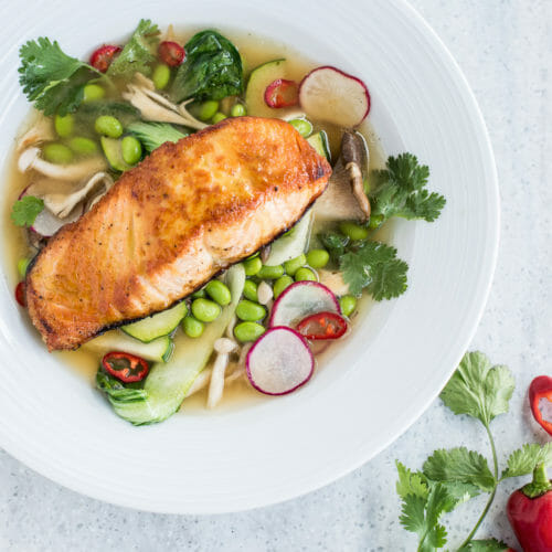 Skuna Bay Salmonb in miso-broth with bok choy and edamame at Bentwood Tavern in New Buffalo, Michigan.