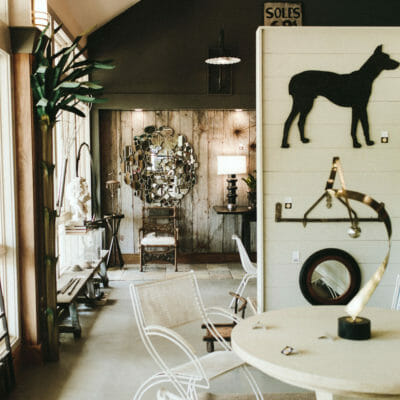 A collection of unique vintage and antique furnishings and art at Alchemy Antiques in Harbert, Michigan.