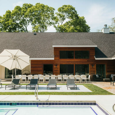 The stunning pool deck at Apple Blossom vacation rental in New Buffalo, Michigan.