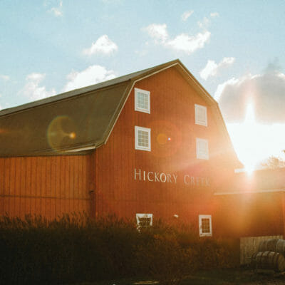 The charming red barn at Hickory Creek Winery in Buchanan, Michigan.